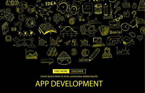 App development sketch concept vector