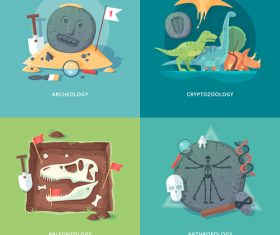 Archeology flat banner set vector