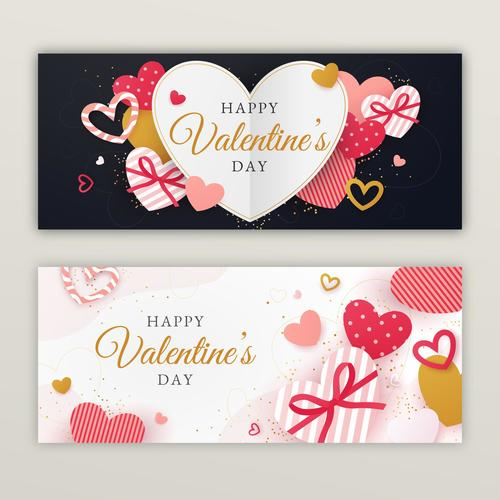 Banner Happy Valentines Day Vector