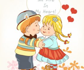 Beautiful Valentines Day card with girl and boy holding hands and kiss vector
