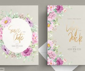 Beautiful watercolor flowers wedding cards vector
