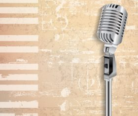 Beige grunge piano background with retro microphone vector