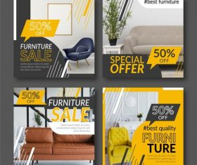 Best quality furniture promotional flyer vector