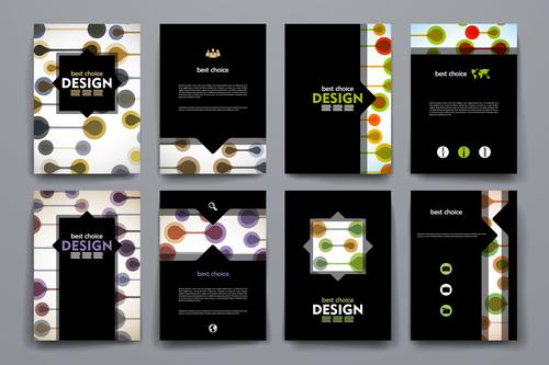 Black background brochure design vector