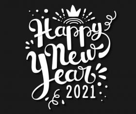 Black background white font new year greeting card vector
