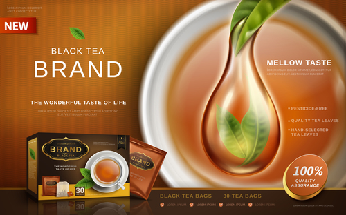 Black tea advertisement and packaging box vector