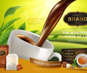Black tea advertising vector