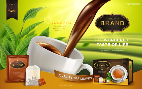 Black tea advertising vector