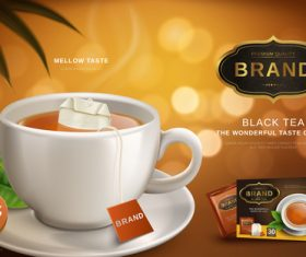 Black tea the wonderful taste of life advertising vector