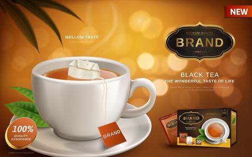 Black tea the wonderful taste of life advertising vector