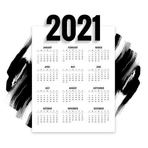 Black watercolor brush stroke 2021 new year calendar vector