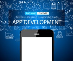 Blue background app development information vector