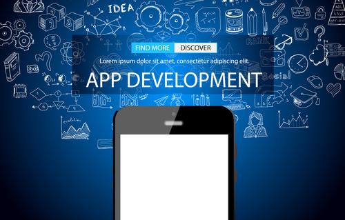 Blue background app development information vector