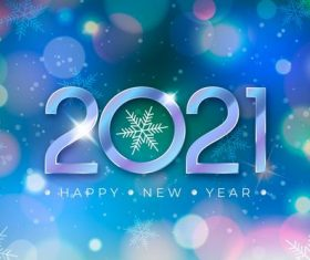 Blue background snowflakes 2021 new year background vector