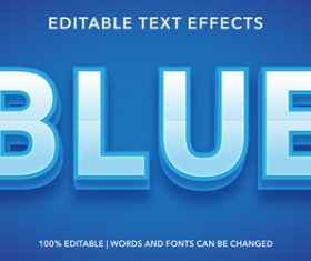 Blue editable font effect text vector