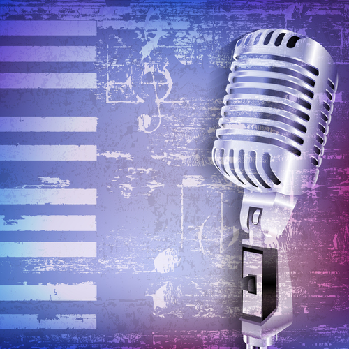 Blue grunge piano background with retro microphone vector