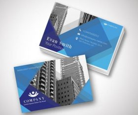 Blue modern template business card design vector