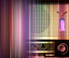 Blue music background with retro radio vector