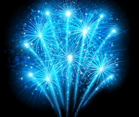 Blue shiny firework vector