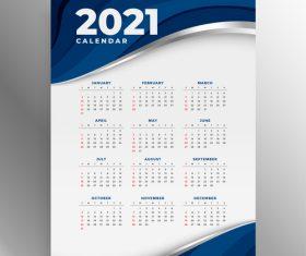 Blue stripes 2021 new year calendar vector