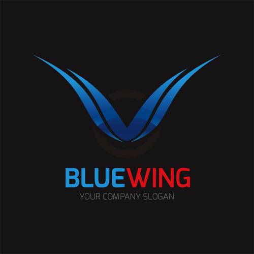 Blue wing logo design vector