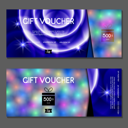 Blur background gift card voucher vector