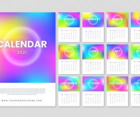 Blurred new year 2021 calendar vector