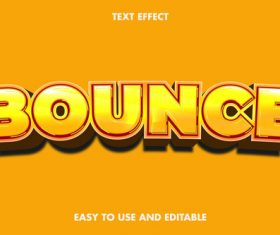 Bounce 3d editable text style effect vector