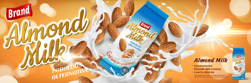 Brand almond milk advertising vector