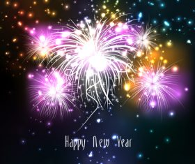 Bright and colorful fireworks vector