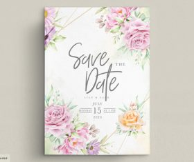Bright flowers wedding cards and invitations vector