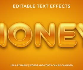 Bright yellow editable font effect text vector
