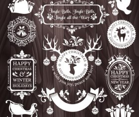 Brown background christmas badges frame vector