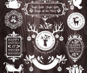 Brown background christmas badges frame vector