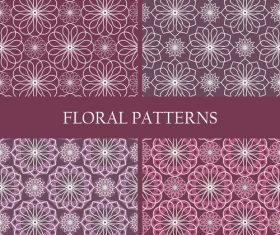 Brown flowers patterns geometric vector