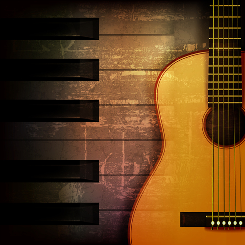 Brown grunge music background with acoustic guitar vector