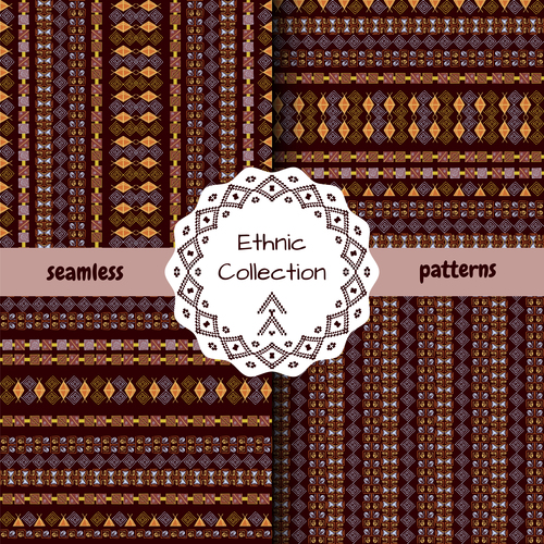 Brown yellow ethnic seamless pattern vector