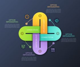 Business cross infographics options vector