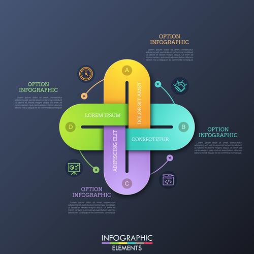 Business cross infographics options vector