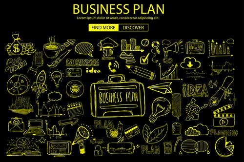 Business plan sketch concept information vector