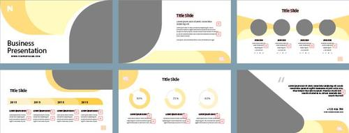 Business presentation slides and photos vector