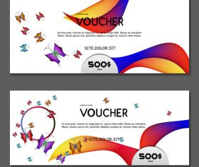 Butterfly background gift card voucher vector