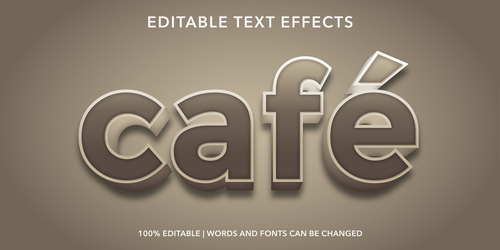 Cafe green editable font effect text vector