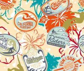 California surfing label vector