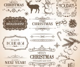 Calligraphic set christmas vector