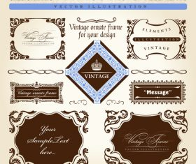 Calligraphic vintage sesign elements labels vector