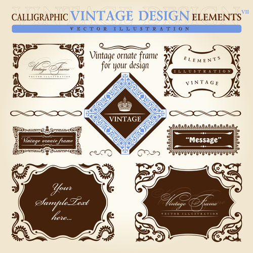 Calligraphic vintage sesign elements labels vector
