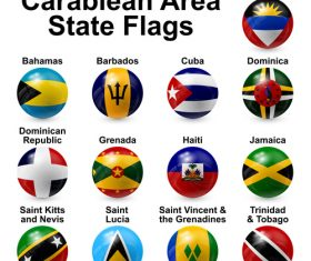 Caribbean area state flags vector