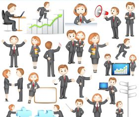 Cartoon business characters vector