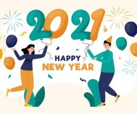 Cartoon character 2021 new year greeting card vector